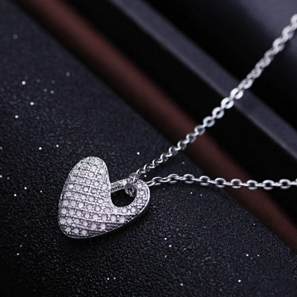 925 srebrna ogrlica srce sa cirkonima srebrni nakit prodaja