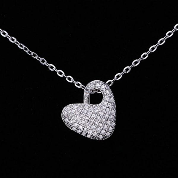 Srebrna 925 ogrlica srce sa cirkonima srebrni nakit prodaja 1