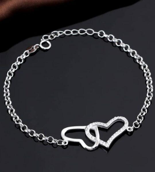 Srebrna Narukvica Srca sa Cirkonima srebrni nakit prodaja
