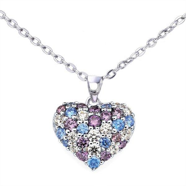 Srebrna Ogrlica sa Kristalom Srce multicolor srebrni nakit prodaja