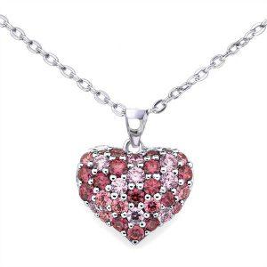 Srebrna Ogrlica sa Kristalom Srce roze srebrni nakit prodaja 1