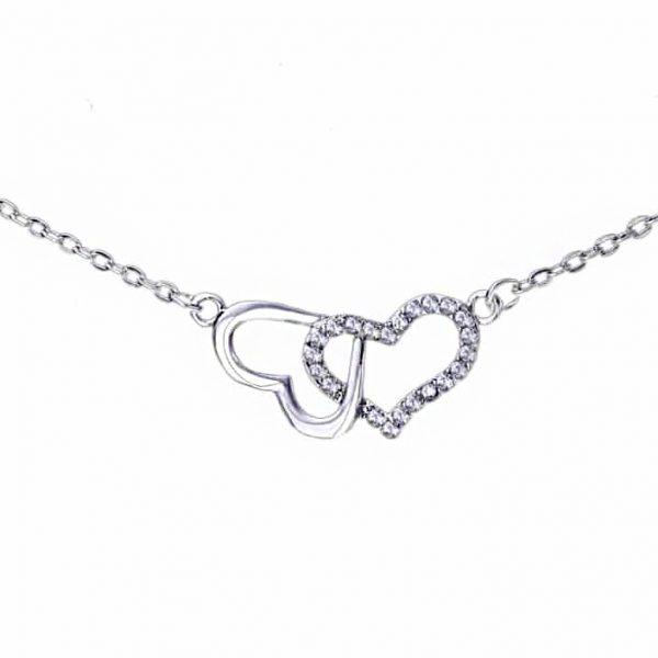 Srebrna ogrlica Infinity Hearts 2 srebrni nakit prodaja