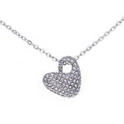 Srebrna ogrlica srce sa cirkonima srebrni nakit prodaja