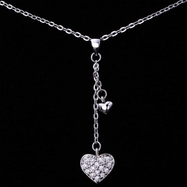 Trendi 925 Srebrna Ogrlica – Srce sa cironima srebrni nakit prodaja