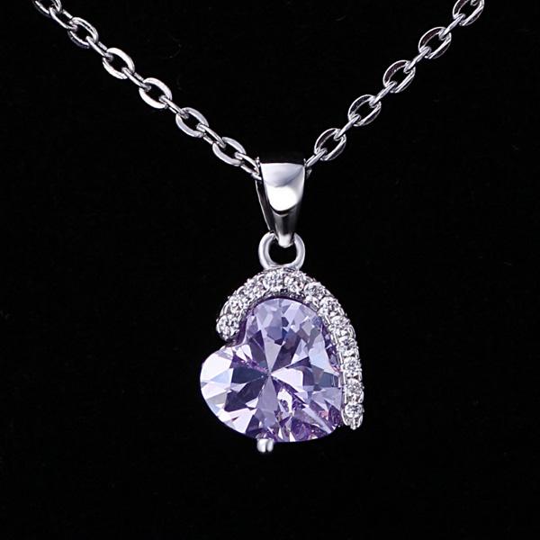 purple crystal heart 925 srebrna pgrlica srebrni nakit prodaja