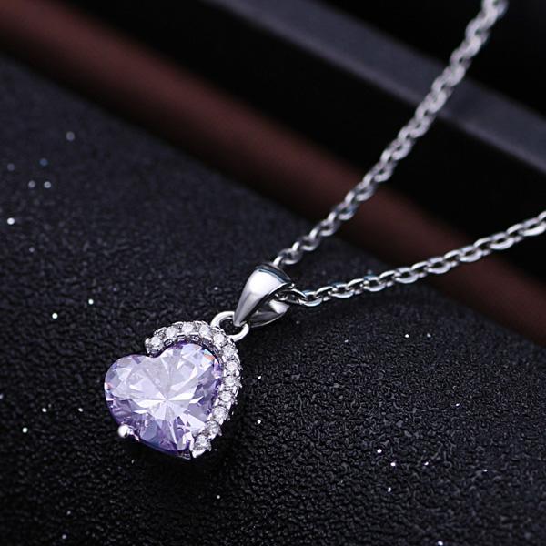purple crystal heart srebrna pgrlica srebrni nakit prodaja