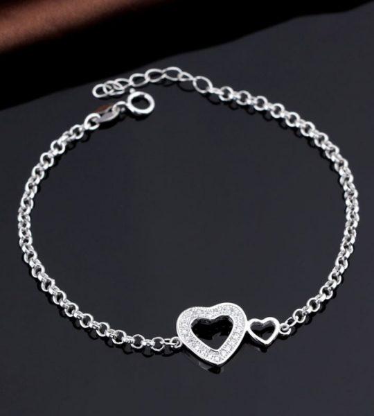 srebrna srce narukvica sa cirkonima srebrni nakit prodaja